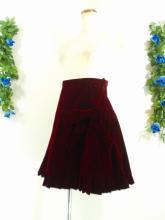 フリルスカート:リボン付きベロアフリルスカート 赤