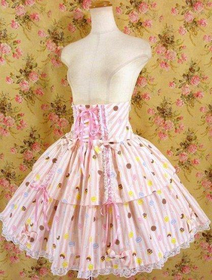 フリルスカート:リボンと編み上げハイウエストフリルスカート ピンク