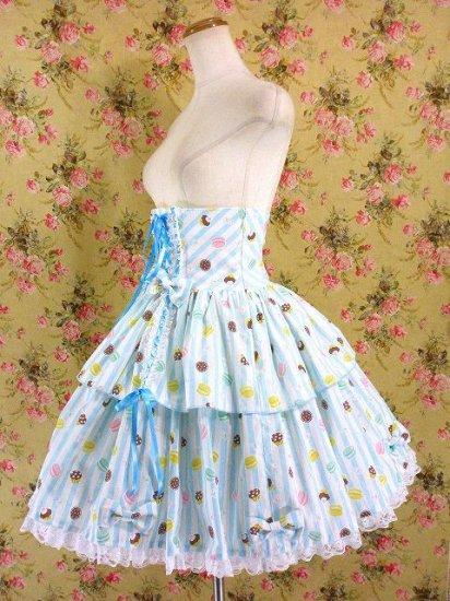 フリルスカート:リボンと編み上げハイウエストフリルスカート 水色