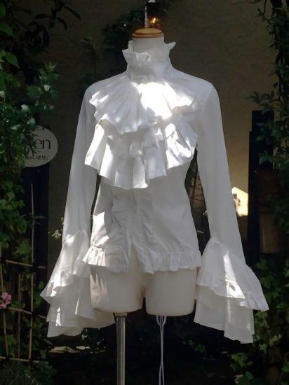 フリルブラウス ジャボタイ付き背面スピンドル姫袖 白
