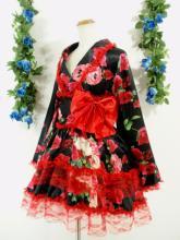 フリルワンピース浴衣風薔薇柄振袖フリル帯リボン付き 黒