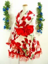 フリルワンピース浴衣風薔薇柄振袖フリル帯リボン付き 白