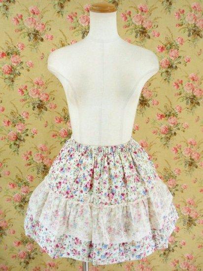フリルスカート 姫系花柄の薔薇園レースsk ピンク