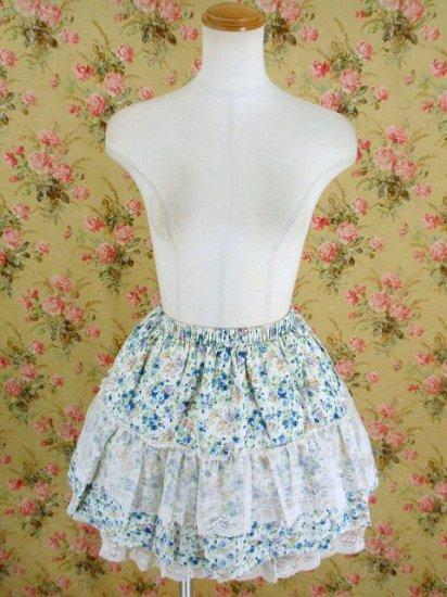 フリルスカート 姫系花柄の薔薇園レースsk 青