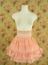フリルスカート キラキラビーズのハイウエストスカート ピンク