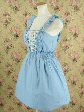 編み上げ花レースのフェイクデニムワンピース ライトブルー
