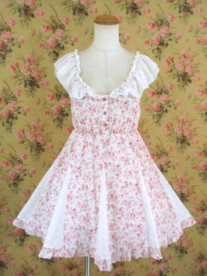 フリルワンピース バックレースリボン花柄Op 白&ピンク