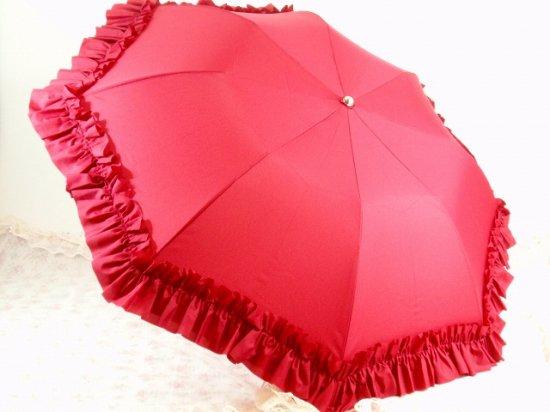 フリル傘:折り畳みフリルアンブレラ レッド【LaLuice】