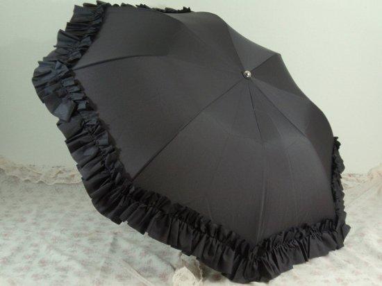 フリル傘:折り畳みフリルアンブレラ グレー【LaLuice】