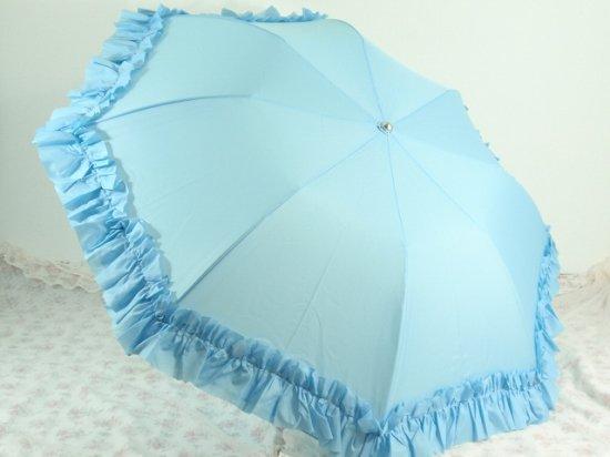 フリル傘:折り畳みフリルアンブレラ ブルー【LaLuice】