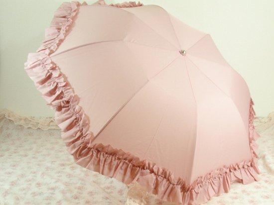 フリル傘:折り畳みフリルアンブレラ マドンナピンク【LaLuice】