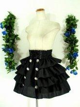 4段ティアードフリルスカート飾りボタン付き ブラック