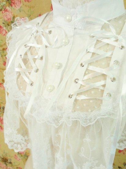 ホワイトロリータ編み上げ付け襟