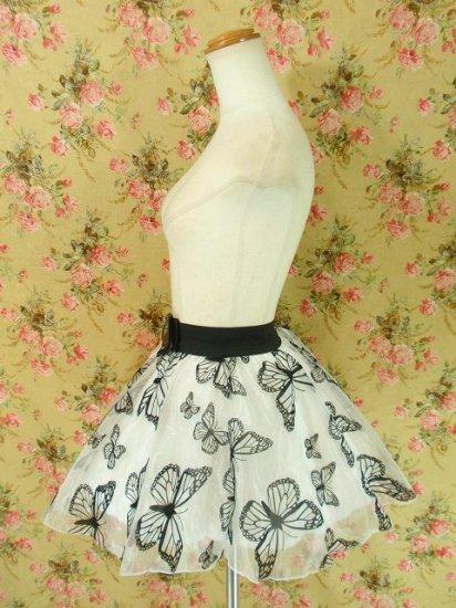 漆黒のアゲハ蝶舞うオーガンジーミニスカート ホワイト
