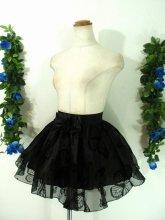 漆黒のアゲハ蝶舞うオーガンジーミニスカート ブラック