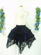 フリルスカート:パープルリボンの薔薇柄総レースゴシックフリルスカート