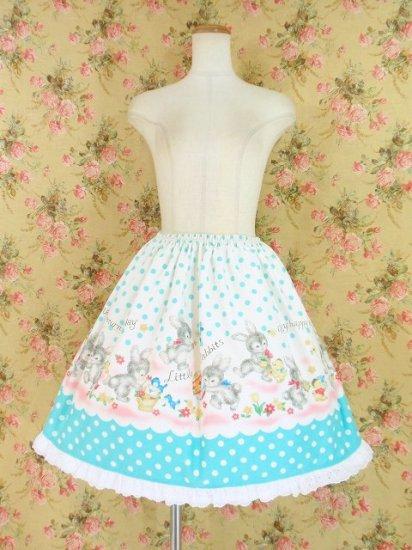 フリルスカート:幸せを運ぶ子うさぎのフリルスカート 水色