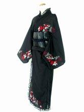 フリル浴衣:紅銀のゴシック風ロング丈フリル浴衣 薔薇刺繍入り