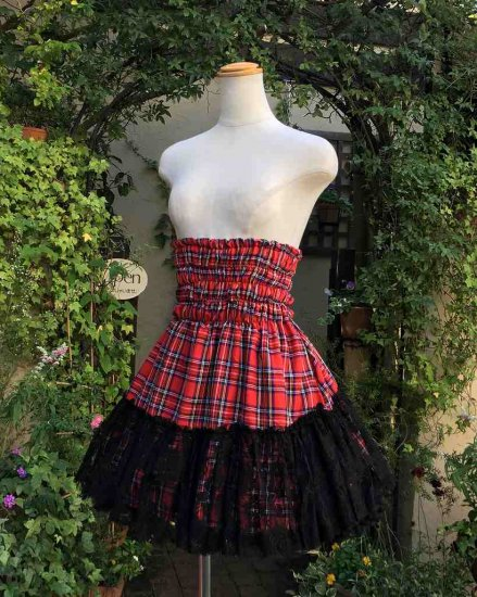 フリルスカート 赤チェックシャーリングフリルスカート 刺繍可