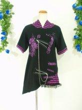 フリルシャツ:ねこみみしましまフード付きシャツ パープル