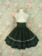 飾りボタンと編み上げのクラシカルハイウエストスカート ダークグリーン