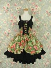 千代姫様の和柄編み上げフリルワンピース 緑黒
