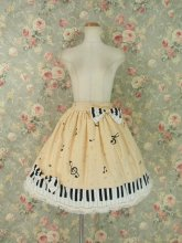 フリルスカート:鍵盤リボンと音符のクリームスカート
