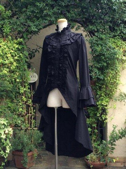 フリルブラウス立ち襟ロング丈姫袖と編上げ 黒