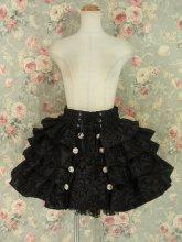 4段ティアードフリルスカート飾りボタン付き ダマスクブラック