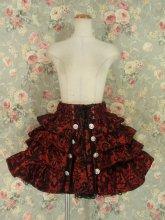 4段ティアードフリルスカート飾りボタン付き ダマスクワインレッド