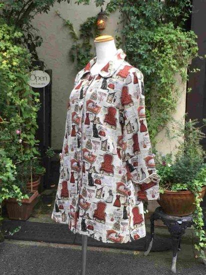 ゴブラン織りAラインコートキャットチェアー柄 フリーサイズ