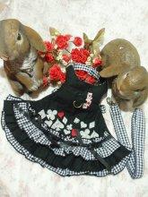 うさぎハーネス 刺繍トランプフリルハーネス 黒(リード付き) Lサイズ