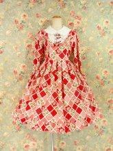 フリルワンピース:鈴リボンと薔薇ボタンのエリーナ姫ワンピース ピンクストロベリー