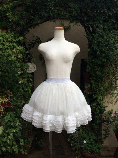 フリルスカート くるぽわフリルのスカートパニエ 白