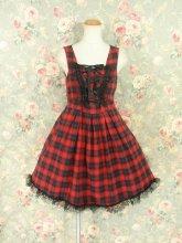 フリルワンピース:黒レースと飾り編み上げのハートホールワンピース 赤チェック