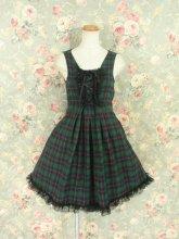 フリルワンピース:黒レースと飾り編み上げのハートホールワンピース 緑チェック
