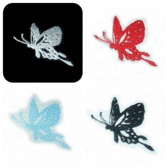 刺繍動物横向き蝶々デザイン