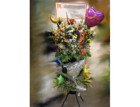 カクテルグラスバルーン付きスタンド生花(新潟県上越地区限定)