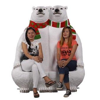 動物オブジェ☆熊・くま☆北極グマのベンチ