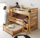 添い寝もできる頑丈設計のロータイプ収納式3段ベッド【triperro】トリペロ