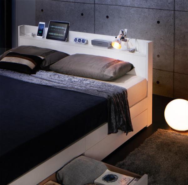スリム棚・多コンセント付き・収納ベッド【Splend】スプレンド