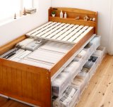 大容量収納できる4段階高さ調節天然木すのこベッド lahairu ラハイル