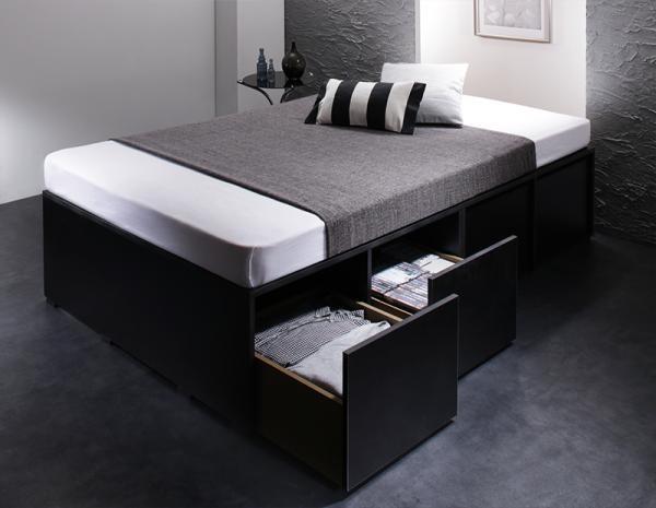 衣装ケースも入る大容量デザイン収納ベッド SCHNEE シュネー