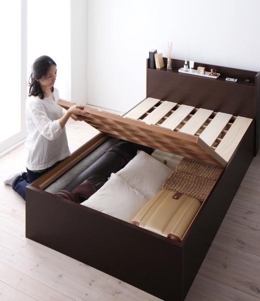 お客様組立 シンプルデザイン大容量収納庫付きすのこベッド【Open Storage】オープンストレージ