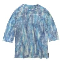 GO HEMP × flowerman ムラ染め FOOTBALL TEE (VINTAGE DENIM)(ゴーヘンプ フラワーマン)