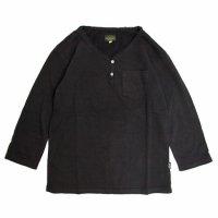 GO HEMP V-BUTTON HALF TEE (ブラック)(ゴーヘンプ)(五分袖Tシャツ)