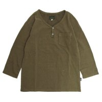 GO HEMP V-BUTTON HALF TEE (ブラウン)(ゴーヘンプ)(五分袖Tシャツ)