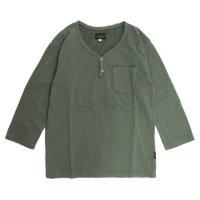 GO HEMP V-BUTTON HALF TEE (グリーン)(ゴーヘンプ)(五分袖Tシャツ)