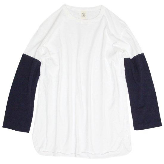 Jackman(ジャックマン) JM5640 Baseball T-shirt (ホワイト/ネイビー)(七分袖Tシャツ)