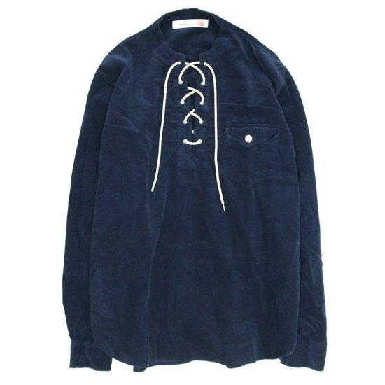 melple(メイプル) コーデュロイ レースアップシャツ (ネイビー)(長袖シャツ)